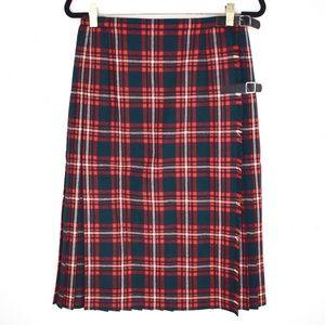 Vintage Tartan Plaid Wool Pleated Kilt Skirt